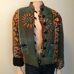 Globetrotter Sunflower Handmade Button Up Jacket
